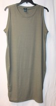 NEW WOMENS PLUS SIZE 3X OLIVE GREEN RIBBED SLEEVELESS TANK DRESS OR NIGH... - $16.44