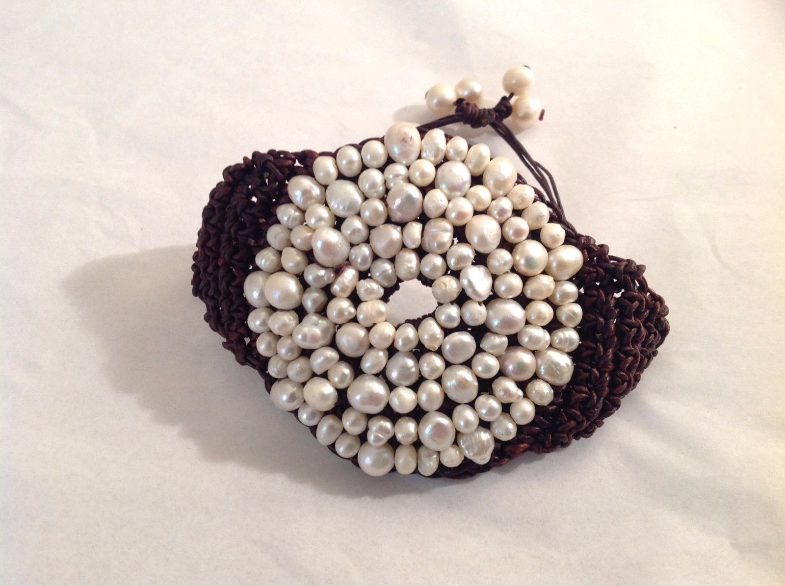 NEW Geranium Wide Woven Brown Bracelet Genuine Pearls NWT New With Tag 2.25""