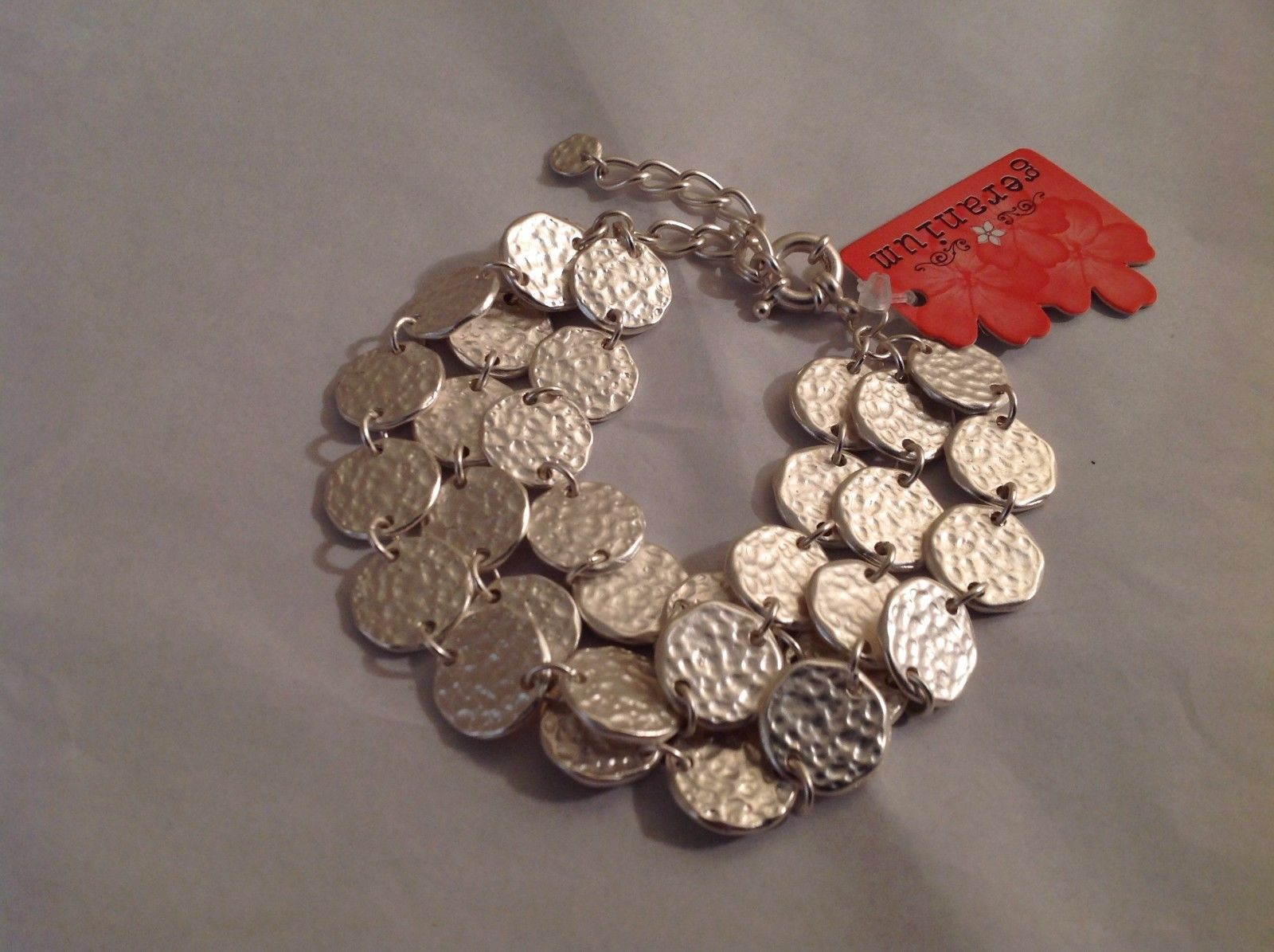 NEW Geranium Silver Toned Wide Multi Strand Bracelet Medallions Adjustable NWT