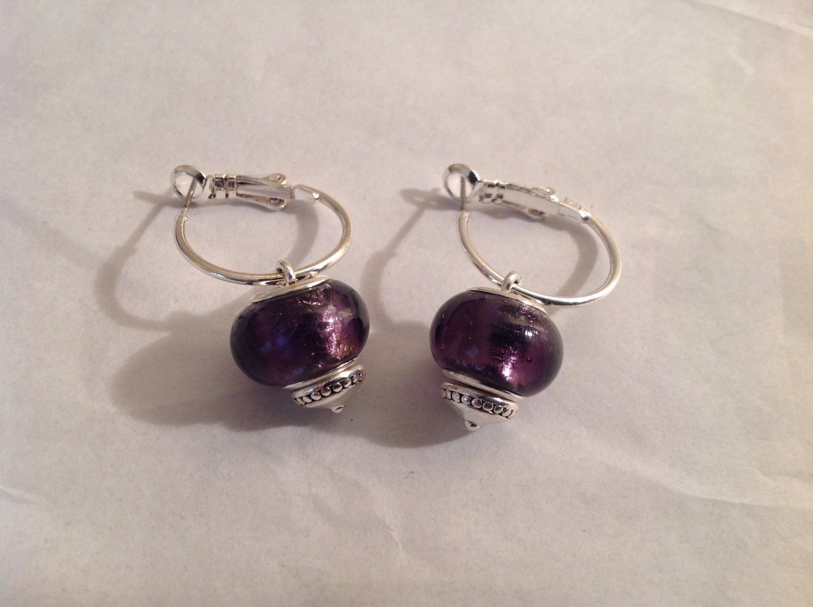NEW Silver Toned Purple Lampwork Glass Bead Dangling Earrings Filigree