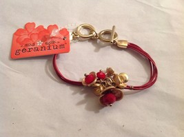 NEW Geranium Gold Toned Bracelet Flowers Red Stones Multi Strand NWT 8""