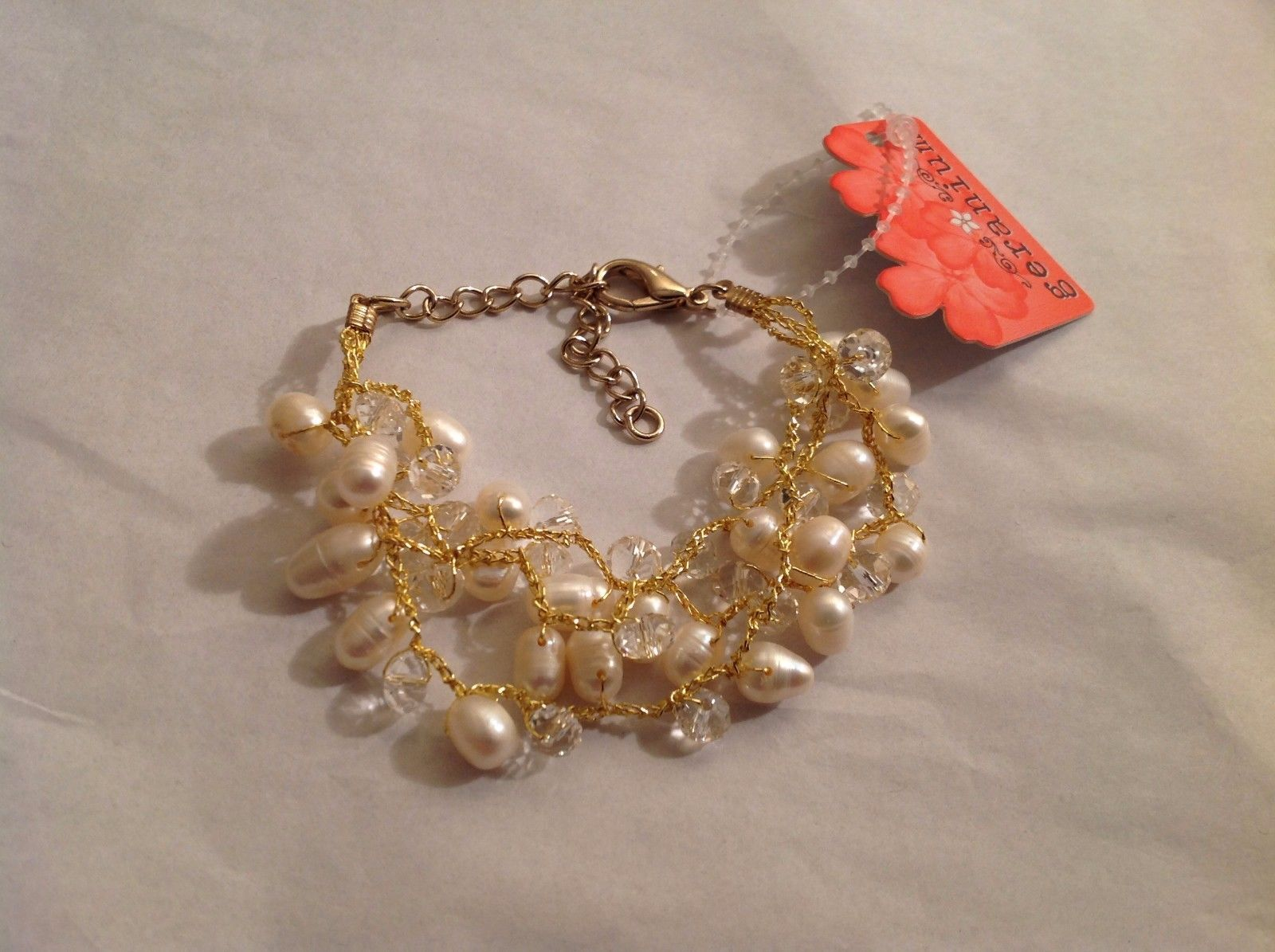 NEW Geranium Gold Toned Multi Strand Necklace Genuine Pearls Adjustable Lobster