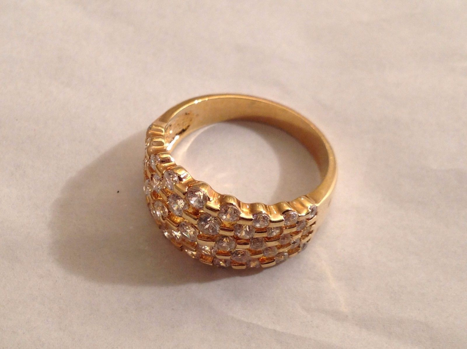 NEW Geranium Gold Toned Ring With Many Swarovski Clear Elements Size 10