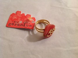 NEW Geranium Gold Toned Ring With Grapefruit Colored Stone Adjustable 7 + Size
