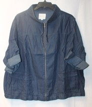 Cool New Torrid Womens Plus Size 4X 4 Blue Soft Denim Cropped Anorak Jacket Coat - $30.95