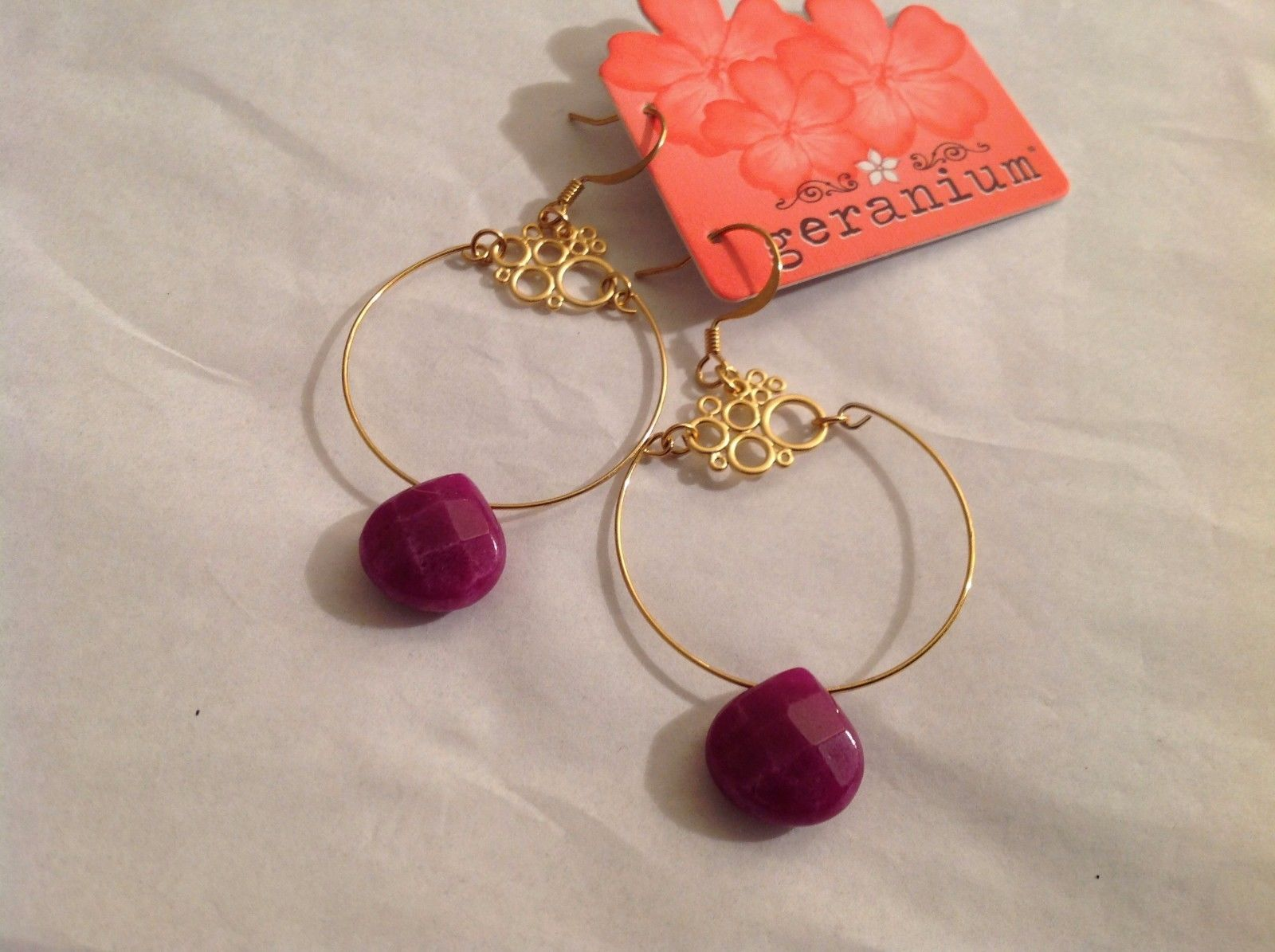"NEW Geranium Gold Toned Wire Loop Earrings Purple Stones French Hook 1.25"" Diam"