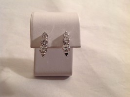 "NEW Silver Toned Stud Earrings Swarovski Elements 0.75"" long"