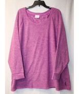 NEW DANSKIN NOW WOMENS PLUS SIZE 4X 26W 28W PURPLE MICROFLEECE WARM SHIR... - $19.33