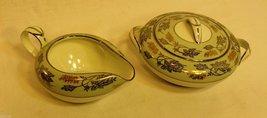 Vintage Noritake Fine China Sugar Bowl & Creamer Set in Silvine Pattern ... - $39.58