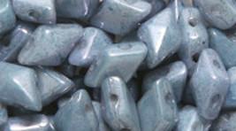 Opaque Chalk Blue Czech Glass Twin Hole Beads Diamond Duo 5 mm x 8 mm 12... - $8.50