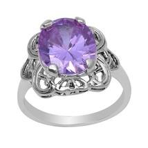 Purple Cubic Zirconia Women 925 Sterling Silver Jewelry Ring  Sz 7.5 SHR... - $20.74