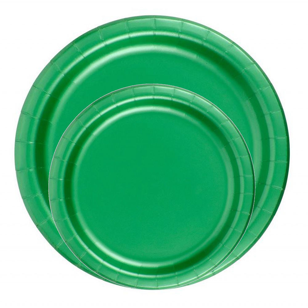 "72 Plates 6 7/8"" Paper Dessert Plates Wax Coated - Kelly Green"