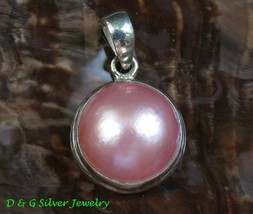 Sterling Silver Round Pink Mabe Pearl Pendant SP-808-DG - $20.00