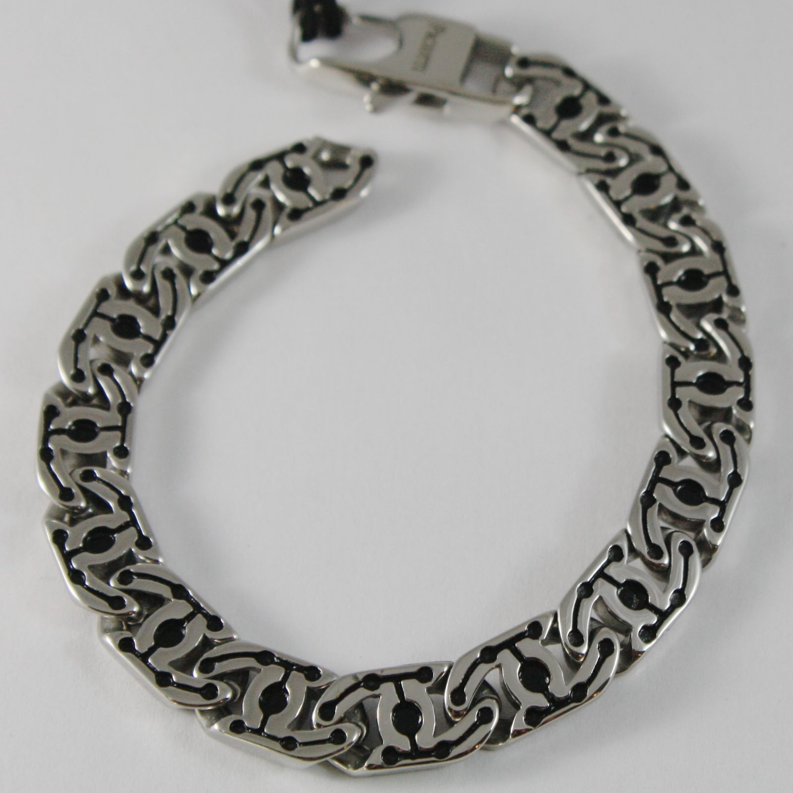 STAINLESS STEEL FLAT GOURMETTE BRACELET SQUARE BLACK MESH 4US BY CESARE PACIOTTI