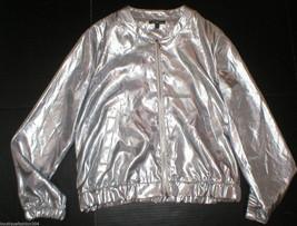 New Womens Express Silver Jacket XS Extra Small Pockets Zipper Metallic ... - $49.05