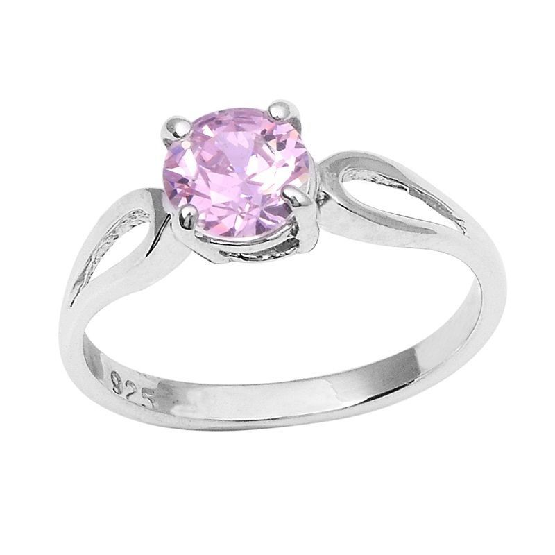 Pink Love Cubic Zirconia Solid 925 Sterling Silver Jewelry Ring  Sz 7 SHRI0799