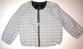 New Womens Large Black White Textured Jacket Express Work School Tweed L... - $62.50