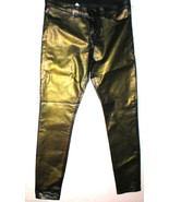 New J Brand Jeans 32 Skinny Womens Coated Leather Metallic Gold Green Le... - $135.20