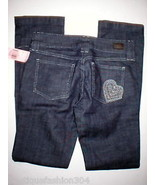 NWT Skinny Dark Jeans Juicy Couture $248 Crystals Heart 27 New Womens 28... - $124.00
