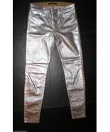 New J Brand Jeans 901 31 X 30 Skinny Cracked Metallic Womens Coated Silv... - $139.20