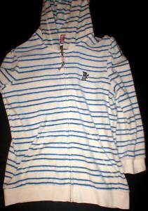 New $148 Womens Medium Juicy Couture Terry Hoodie White Blue Dog Jacket Stripes