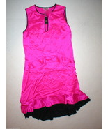 New $398 Juicy Couture Dress Silk Hot Pink Womens 0 Navy Blue Keyhole Ha... - $80.00