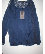 NWT New Womens Italy Carla Conti Silk Blouse Top Navy Dark Blue S Lace D... - $66.60