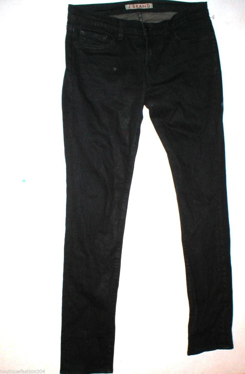New J Brand Jeans Pencil Leg 29 30 X 32 Skinny Stretch Dark Womens Venom Coated