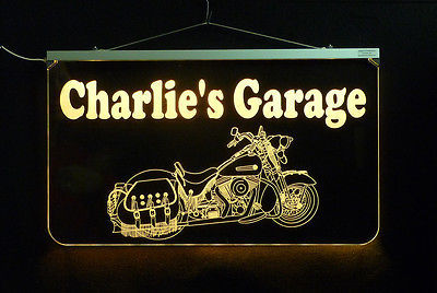 Motorcycle LED Sign, Man Cave, Garage Sign, Personalized Gift, Handmade