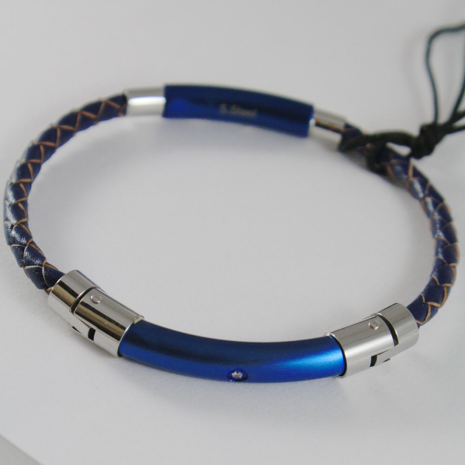 STAINLESS STEEL BLUE BRACELET TUBE PLATE & LEATHER ROPE 4US BY CESARE PACIOTTI