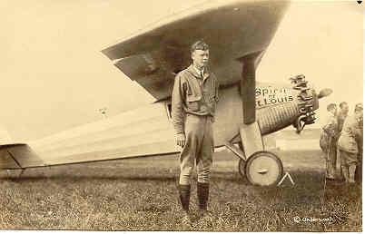 Spirit of St Louis and Charles Lindberg vintage Post Card