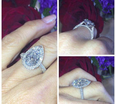 Certified 4.00Ct Pear Cut Solid 14K White Gold Antique Diamond Engagemen... - $266.66