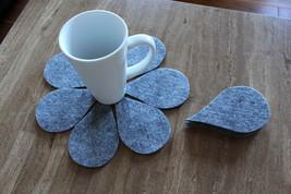 Grey Felt  Coaster Tear Drop Shape Set of 7 - $7.80
