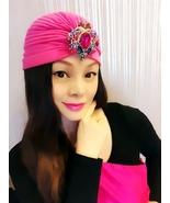 Pink Gem Crystal Turban,Womens Turbans,Full Turbans,Turban Headband,Turban Hat - $19.99
