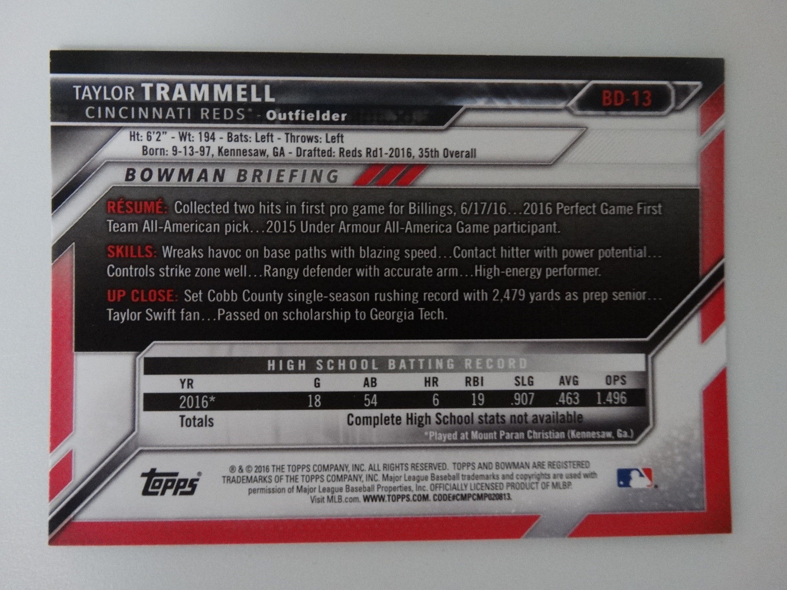 2016 Bowman Draft #BD-13 Taylor Trammell Cincinnati Reds Rookie RC Baseball Card image 2
