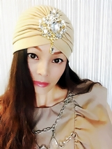 Light Tan Gold Gemstone Turban,Womens Turban,Full Turban,Headband,Turban... - $25.04 CAD