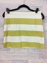 J.Crew Olive Green Cream Striped Mini Straight Pencil Skirt Size 0 - $19.34