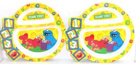 Elmo Cookie Monster Kids Dinner Plate Melmac Sesame Street 123 Plates Lo... - €23,13 EUR