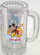 Disneyland Mickey Mouse Stein 45 Years Glass Mug Cup Vintage Retired Collectible - $59.95