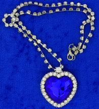 Blue Heart Necklace Deep Ocean Blue Chain Style Length Choice - $5.99+