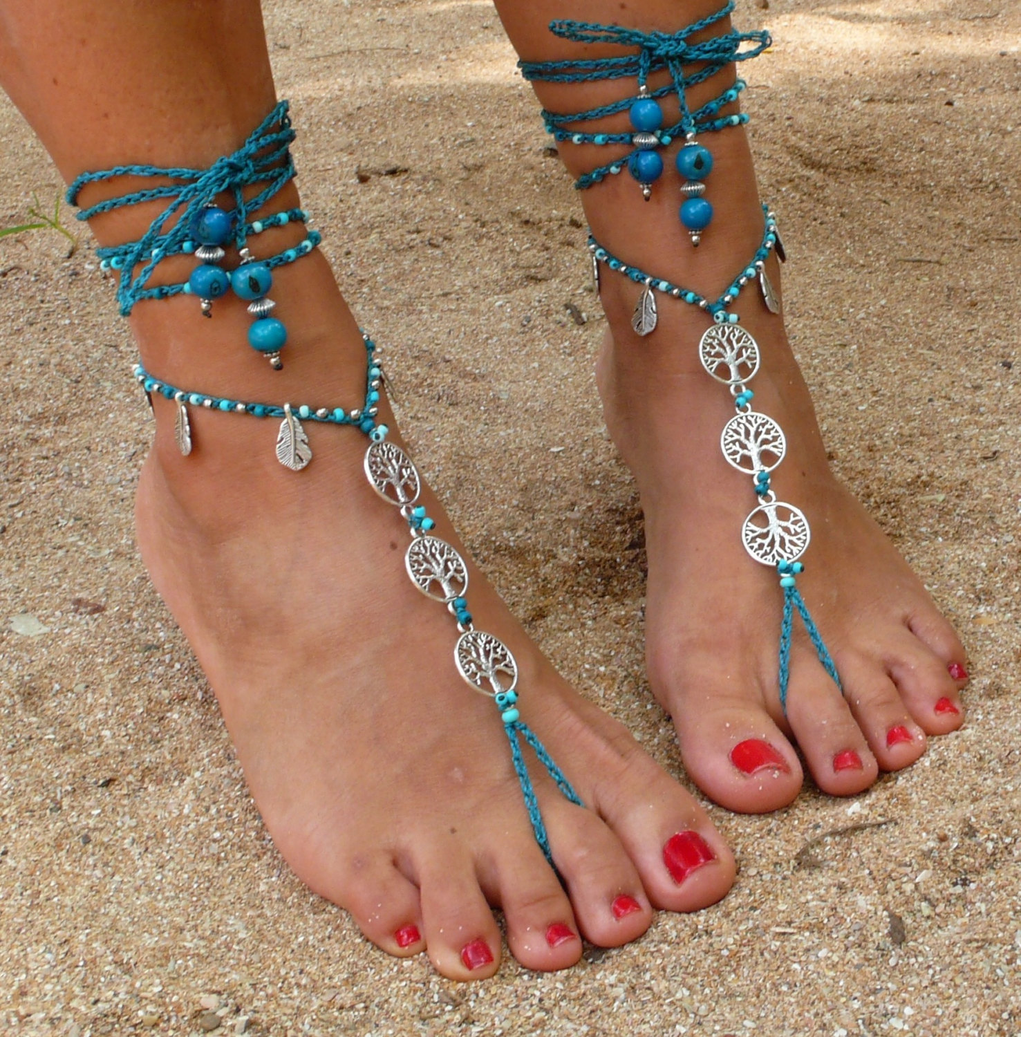91687704a TREE of LIFE barefoot SANDALS Turquoise-Foot and 50 similar items