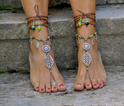 Silver LEAF BAREFOOT SANDALS brown and green Fo... - $32.00