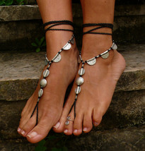 Black and Silver ETHNIC BAREFOOT SANDALS foot j... - $30.00