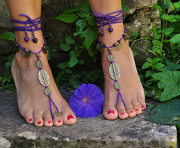 PURPLE and Brass Ethnic BAREFOOT SANDALS Foot J... - $32.00