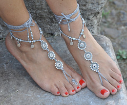Silver FLOWER BAREFOOT SANDALS Grey foot jewelr... - $32.00