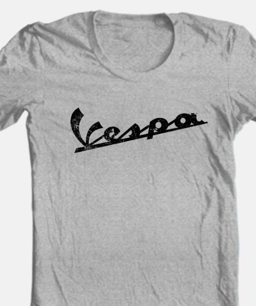 Vespa T-shirt Free Shipping retro vintage style distressed heather grey tee