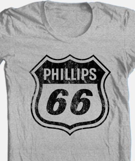 Phillips 66 T-shirt Free Shipping retro vintage style distressed logo grey tee
