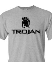 Trojan Condom T-shirt Free Shipping retro vintage style distressed logo grey tee image 1