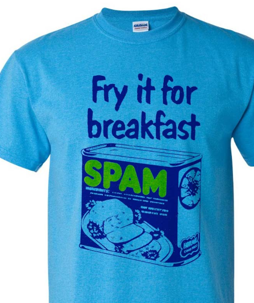 Spam T-shirt Free Shipping retro 80's vintage style distressed logo blue tee