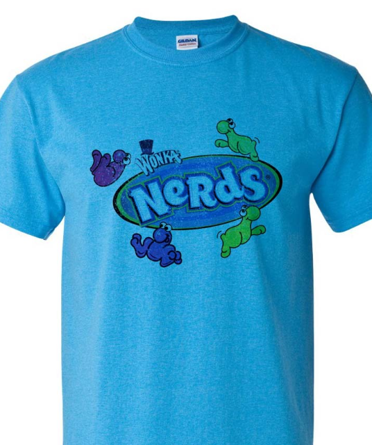 Nerds T-shirt Free Shipping retro 80's vintage candy distressed logo blue tee